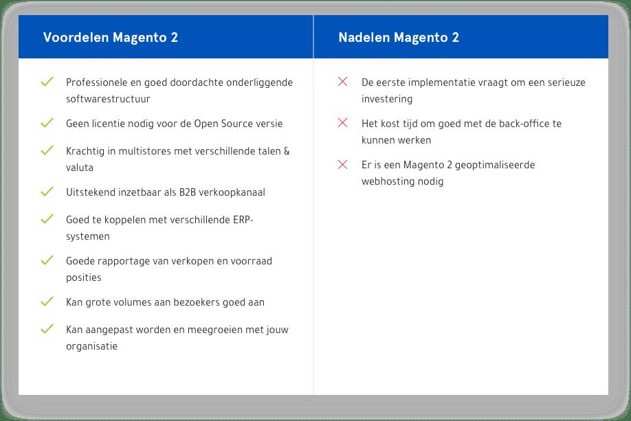Voordelen en nadelen van Magento 2